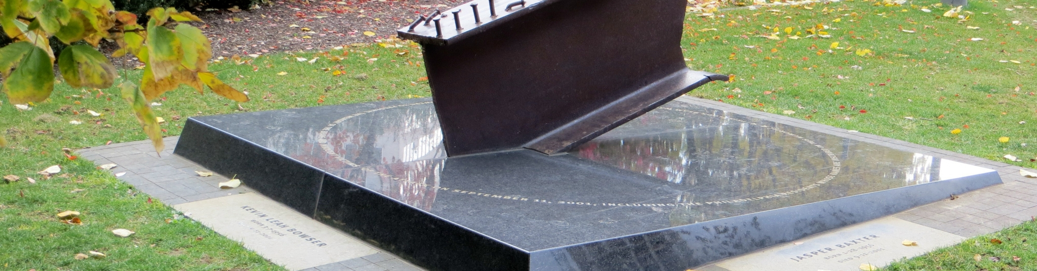 memorial with steel from the world trade center