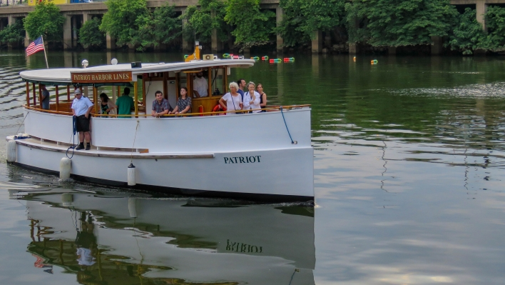 The Patriot, a 1920s yacht style tour boat, on the tidal Schuylkill