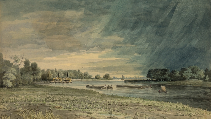 1858 drawing by James Fuller Queen from Grays Ferry looking south.