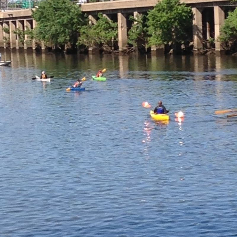 paddlers and rowers on the Schuylkill River