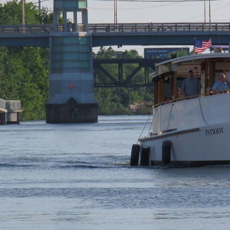 Riverboat by the Schuylkill Banks Boardwalk and South Street Bridge